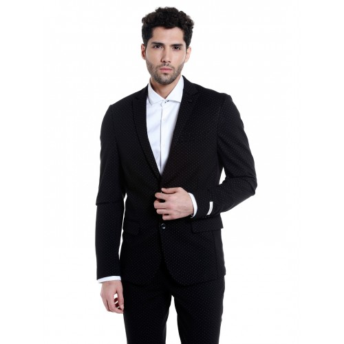 Jack & Jones Black Printed Slim Fit Blazer