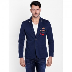 Jack & Jones Dark Blue Cotton Badge Detail Blazer