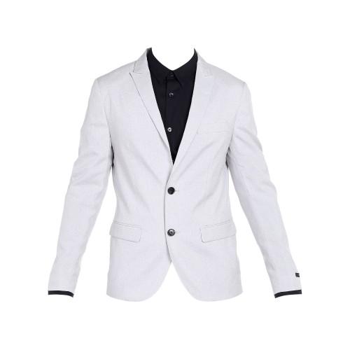 Jack & Jones Grey Polyester Casual Solid Blazer