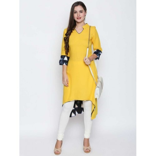 8507415138 Buy Oomph! Yellow Rayon Party Wear High low Kurtis for Women online ...
