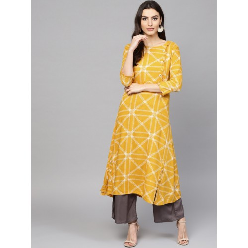 Yufta Women Yellow & White Printed A-Line Kurta