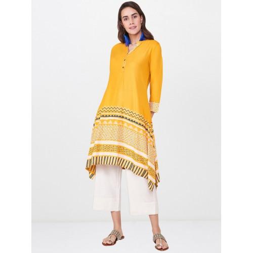 Global Desi Women Mustard Yellow Printed A-Line Asymmetric Kurta