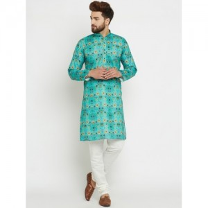 SOJANYA Men Green Printed Straight Kurta
