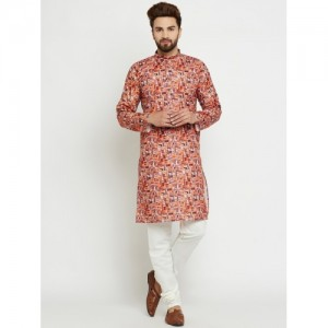 SOJANYA Men Multicoloured Printed Straight Kurta