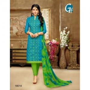 Rajnandini Blue Chanderi Cotton Embroidered Salwar Suit