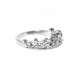 OOMPH Silver-Plated CZ Stone-Studded Crown Motif Ring