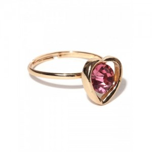OOMPH Women Gold-Toned Pink CZ Studded Ring
