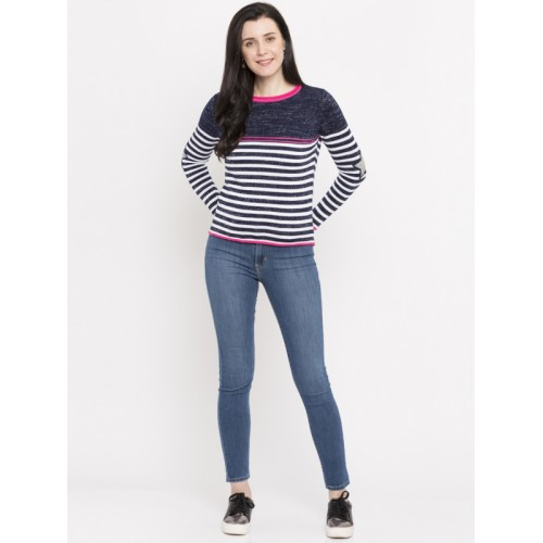 459014b33aa Buy Honey by Pantaloons Women Navy Blue Striped Sweater online ...