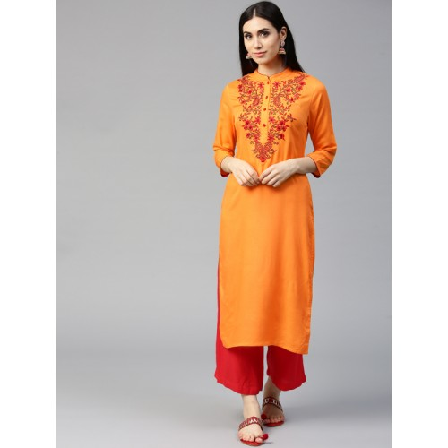 Jaipur Kurti Women Orange Embroidered Straight Kurta