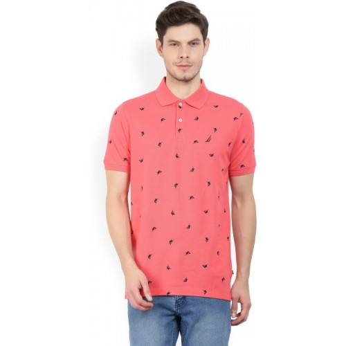 5ee8ae044e48 Buy Nautica Printed Men's Polo Neck Pink T-Shirt online | Looksgud.in