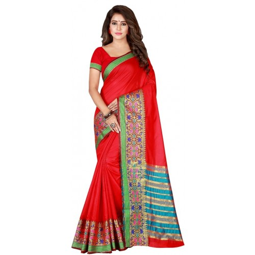f0989a2ded Florance Women's Red pure cotton Printed Party Wear Saree With Unstitched  Blouse