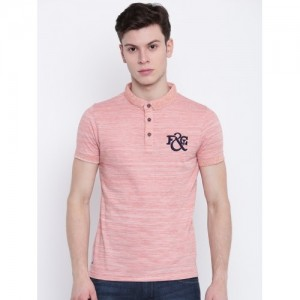 Fort Collins Men Coral Orange Solid Polo Collar T-shirt