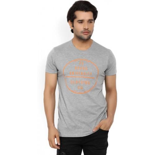 Peter England University Printed Men's Round Neck Grey T-Shirt