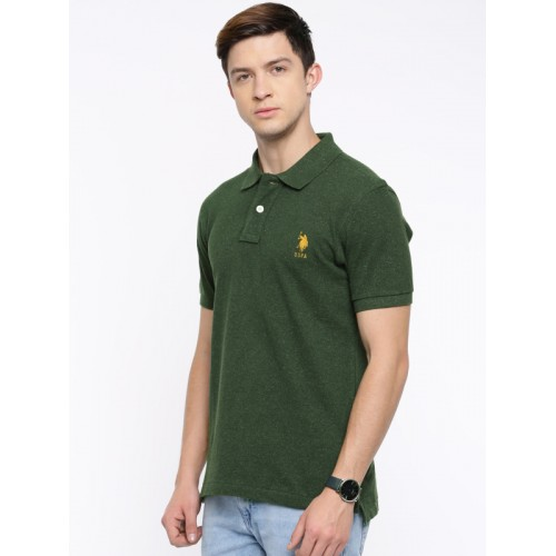 U.S. Polo Assn. Men Olive Green Solid Polo T-shirt