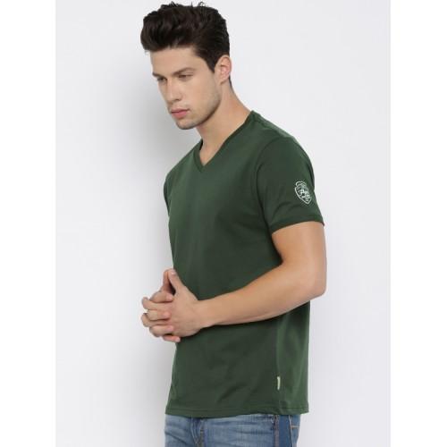 e136ca598d4a Buy Flying Machine Men Olive Green Solid V-Neck T-shirt online ...