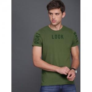 WROGN Men Olive Green Slim Fit Printed Round Neck T-shirt