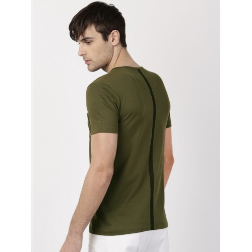 ether Men Olive Green Solid Round Neck T-shirt