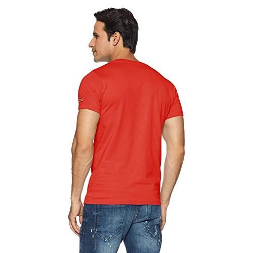 Chromozome Orange Cotton Slim Fit T-Shirt