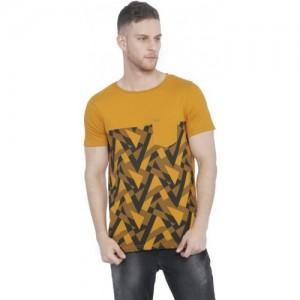 Rodid Printed Men's Round Neck Yellow T-Shirt