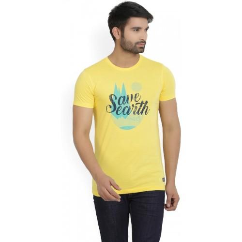 Peter England University Printed Men's Round Neck Yellow T-Shirt