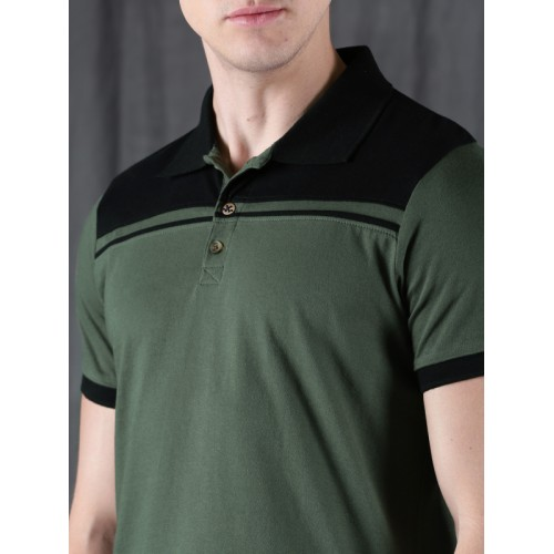WROGN Men Olive Green Solid Slim Fit Solid Polo T-shirt