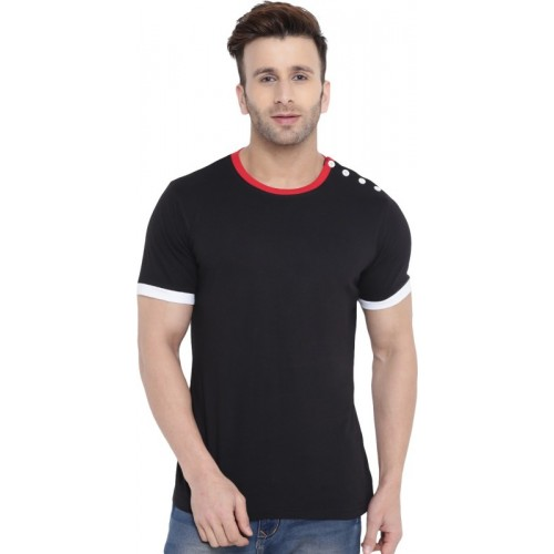 Gritstones Solid Men's Round Neck Black, Red T-Shirt