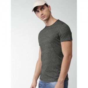 Tommy Hilfiger Men Charcoal Grey Solid Round Neck T-shirt