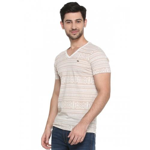 Peter England Casuals Men Beige Self-Design V-Neck T-shirt