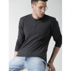 HIGHLANDER Men Charcoal Grey Slim Fit Henley T-shirt