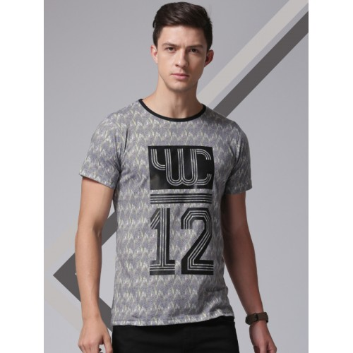 YWC by Yuvraj Singh Men Grey Printed Round Neck T-shirt