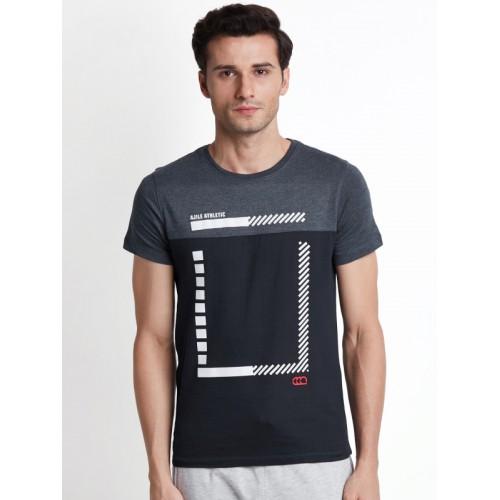 4b534e6f976b98 Buy Ajile by Pantaloons Men Grey Printed Round Neck Slim Fit T-shirt ...