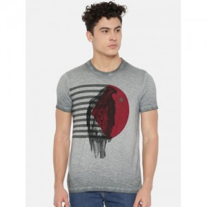 Arrow Blue Jean Co. Men Grey Printed Round Neck T-shirt