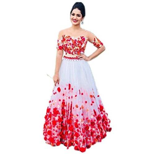 Sai Red & White Net Lace Work Party Wear Lehenga