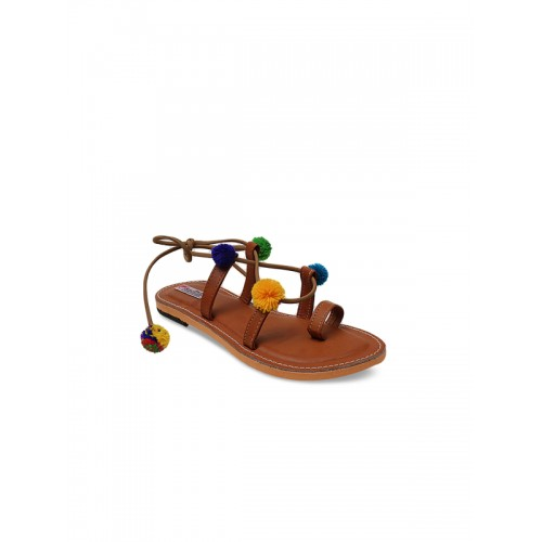 DChica Girls Brown Solid Synthetic Gladiators