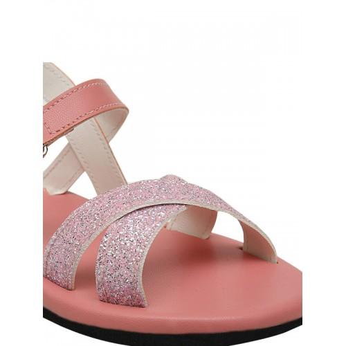 DChica Girls Peach-Coloured & Silver-Toned Comfort Flats