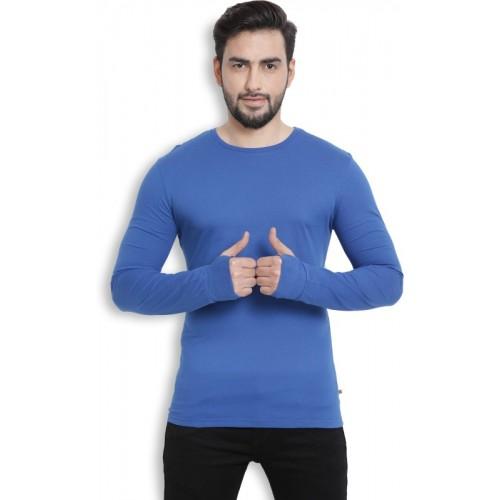 Billion PerfectFit Solid Men Round Neck Blue T-Shirt