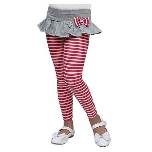 D'Chica Striped Skinny Capri With Skirt - Red