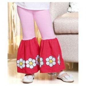 D'Chica Floral Frilled Leggings - Pink