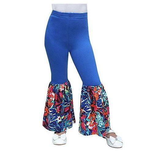 D'Chica Flower Print Frilled Leggings - Blue
