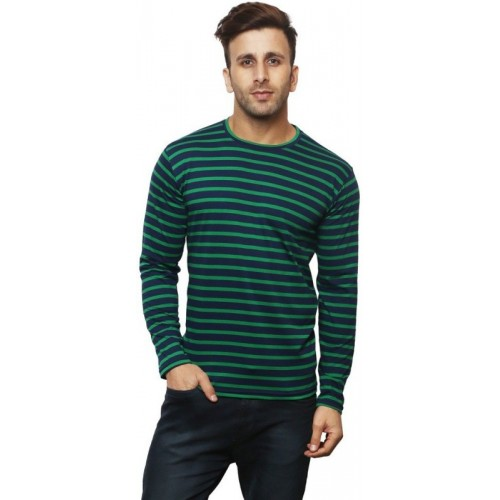 Leana Striped Men Henley Dark Blue, Green T-Shirt