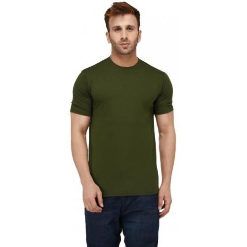 London Hills Solid Men Round Neck Dark Green T-Shirt