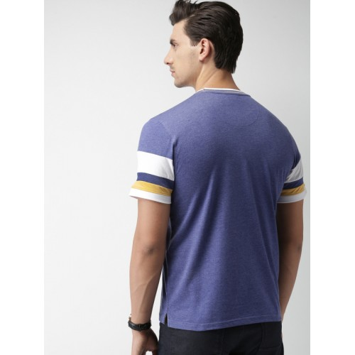 INVICTUS Men Blue Solid Slim Fit Round Neck T-shirt