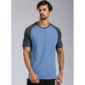 Kappa Blue Cotton Solid Round Neck T-Shirt
