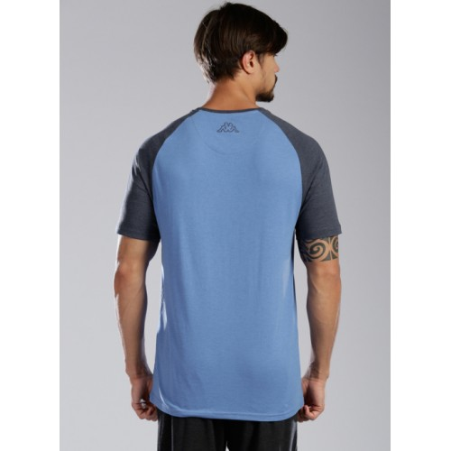 Kappa Blue Cotton Solid Round Neck T-Shirt