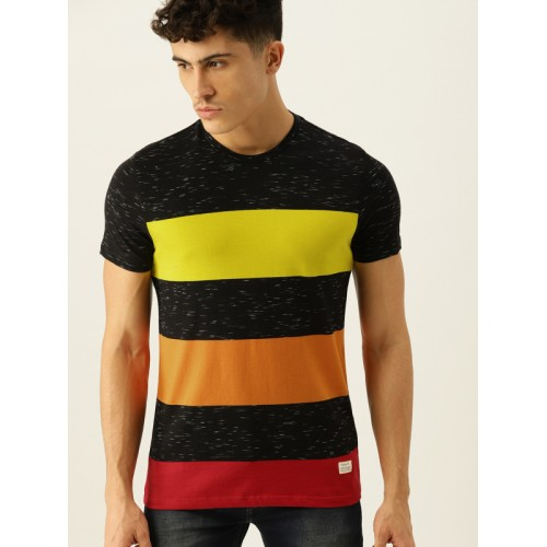e82162808c ... United Colors of Benetton Men Black Striped Round Neck T-shirt ...