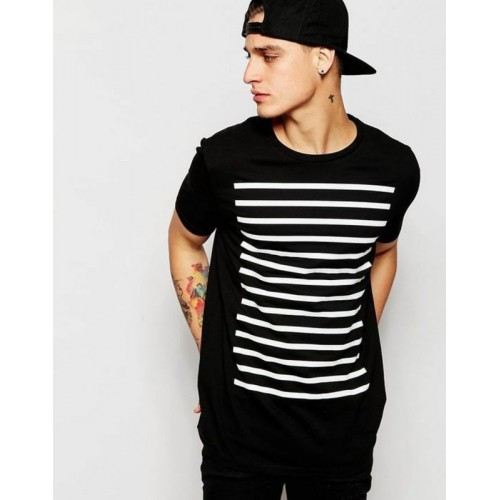 WRODSS Printed, Striped Men's Round Neck Black T-Shirt