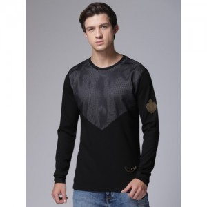 YWC Men Black Self Design Round Neck T-shirt