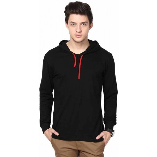 Urbano Fashion Solid Men's Hooded Black T-Shirt