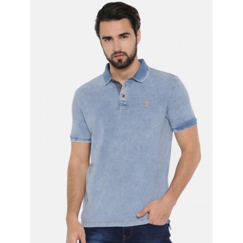 dacc202cd7 Buy Arrow Blue Jean Co. Men Blue Solid Polo Collar T-shirt online ...