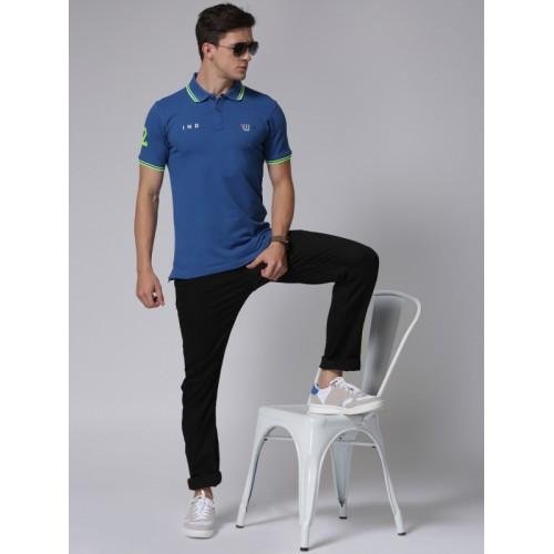 YWC Men Blue Solid Polo T-Shirt
